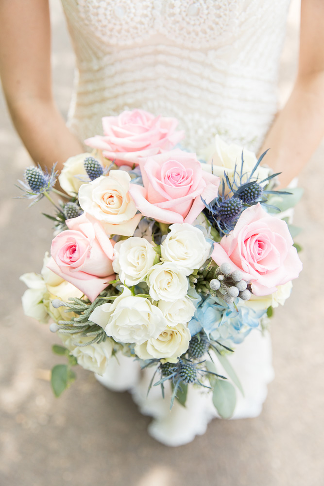 Beautiful blush and navy bridal bouquet from the Flower Gallery of Manassas | Manassas, Virginia Florist | Best Florists in Northern Virginia