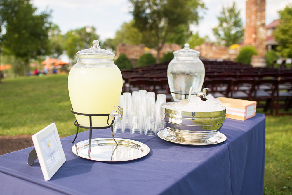 Lemonade for the guests during a summer wedding at Winery at Bull Run | Virginia Winery Wedding Venue