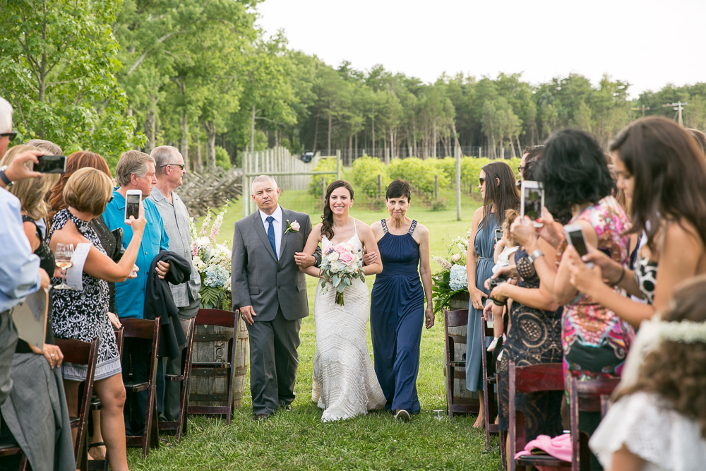 Bride walking down the aisle for the ceremony at Hillwood Ruins | Summer wedding at Winery at Bull Run | Best Outdoor Virginia Wedding Venue