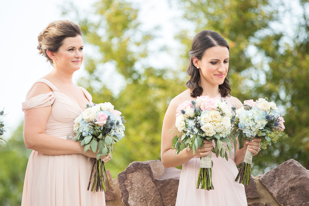 Candid photo of bridesmaids during outdoor wedding | Fairfax County Wedding Photographer
