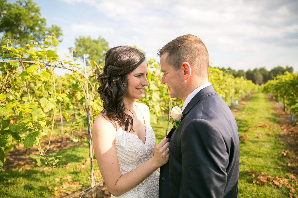 Wedding couple at their vineyard wedding in Northern Virginia
