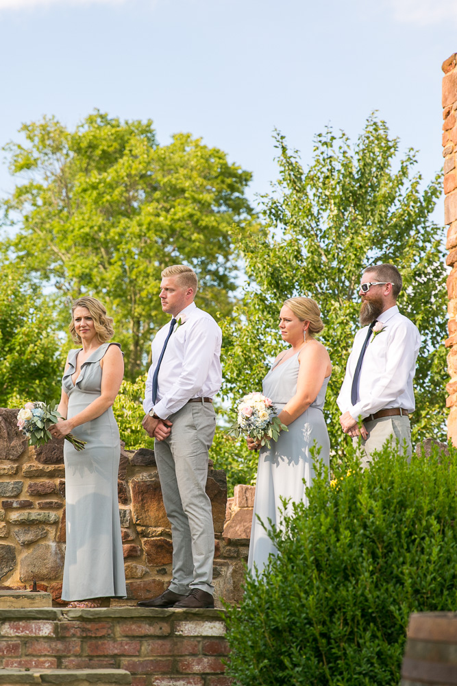 Wedding party standing at the Hillwood Ruins | Bull Run Winery Wedding