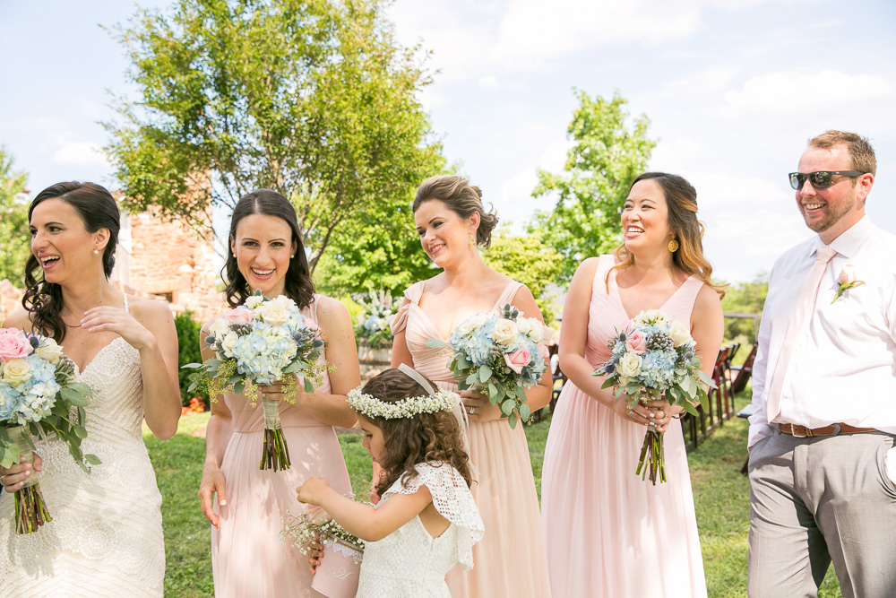 Bridesmaids and bridesman in blush | Blush and navy wedding colors