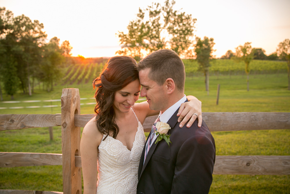 Sunset photos during golden hour at Winery at Bull Run | Manassas Virginia Wedding Photographer