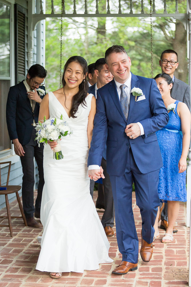 Wedding party on the front porch of Mountain Run Winery | Culpeper, Virginia Wedding Photographer