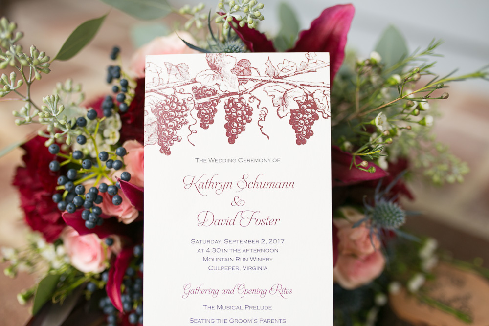 Wedding program | Mountain Run Winery Wedding