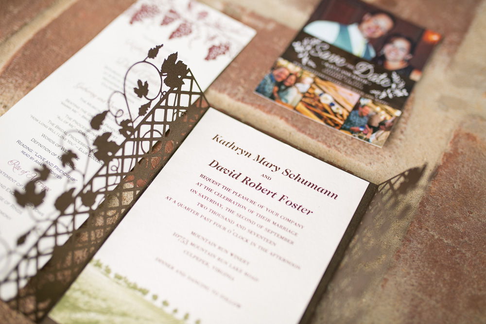 Wedding Invitations for Mountain Run Winery