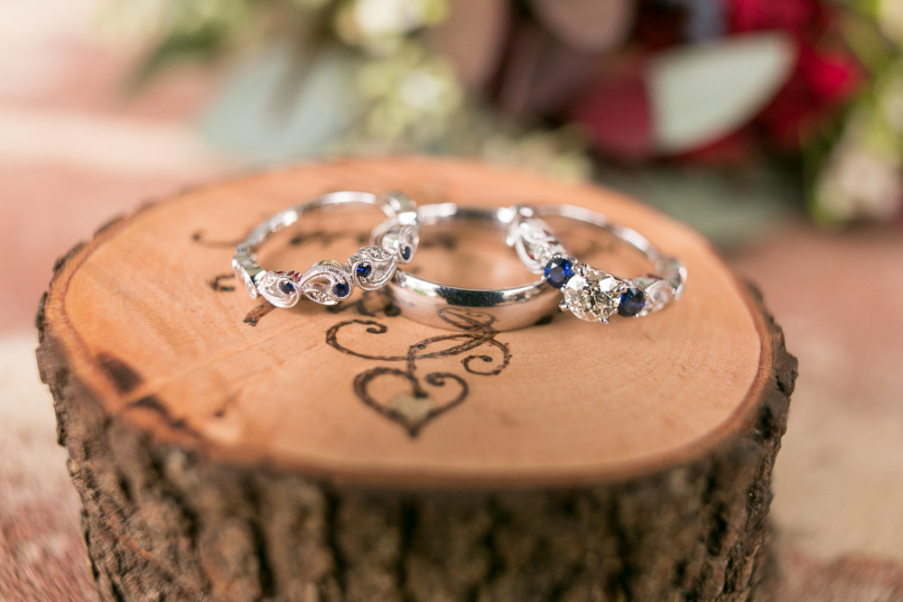 Wedding rings on the custom wood ring box | Mountain Run Winery Wedding Details