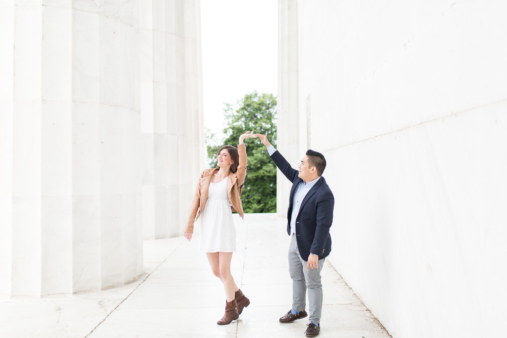 Dancing by the columns of the Lincoln Memorial | DC monuments engagement session