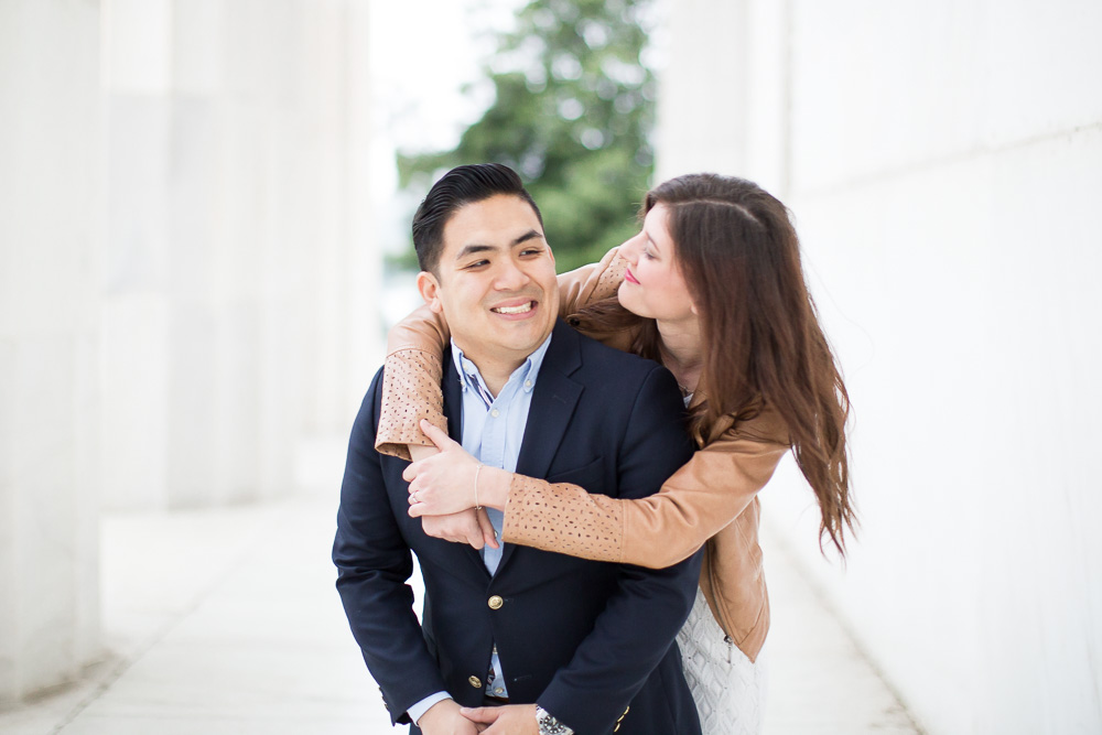 Fun engagement photos at the DC monuments | Washington DC Candid Photographer | Megan Rei Photography