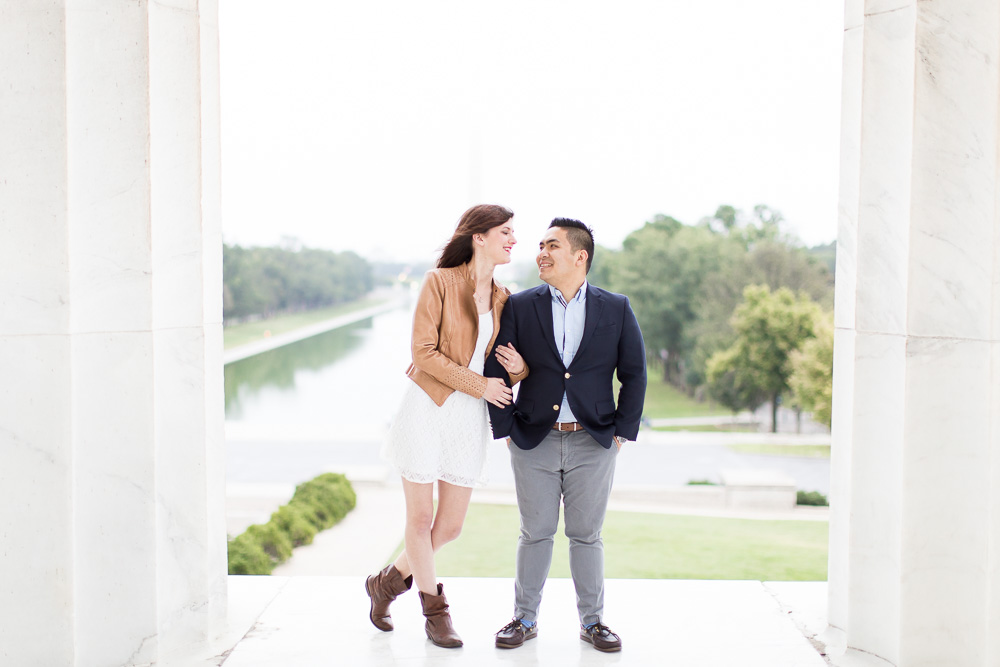 Engagement photo at the Lincoln Memorial with Washington Monument in the background | Sunrise engagement session at the DC monuments | Best DC Engagement Photo Locations