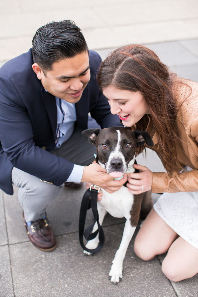 Happy couple with their dog during their engagement pictures | Washington DC Dog Photographer