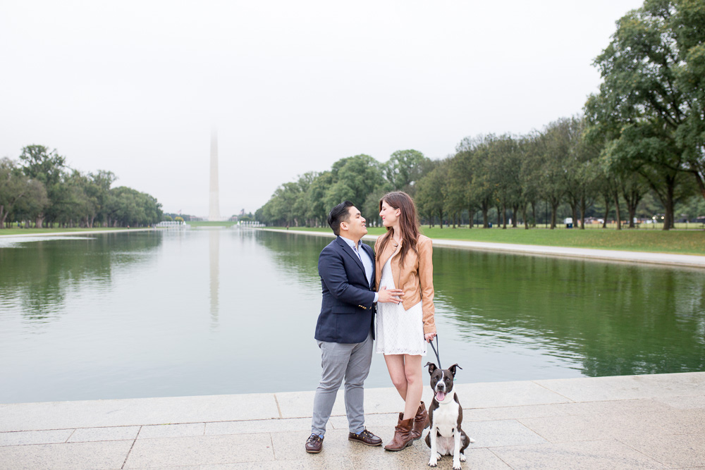 Engagement photos with dog in front of the Reflecting Pool and Washington Monument | Washington DC Engagement Photographer | Megan Rei Photography