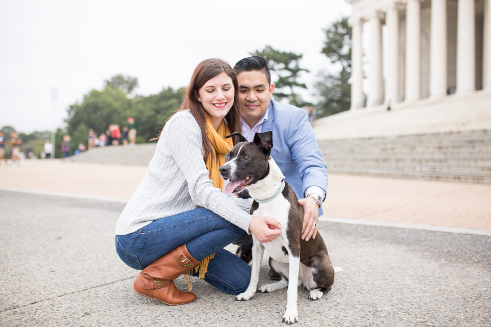 Smiling at their dog | Washington DC Engagement and Dog Photographer | Megan Rei Photography
