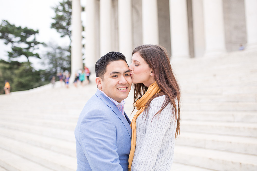 Happy couple on the steps of the Thomas Jefferson Memorial | Best Places for Engagement Pictures in Washington DC