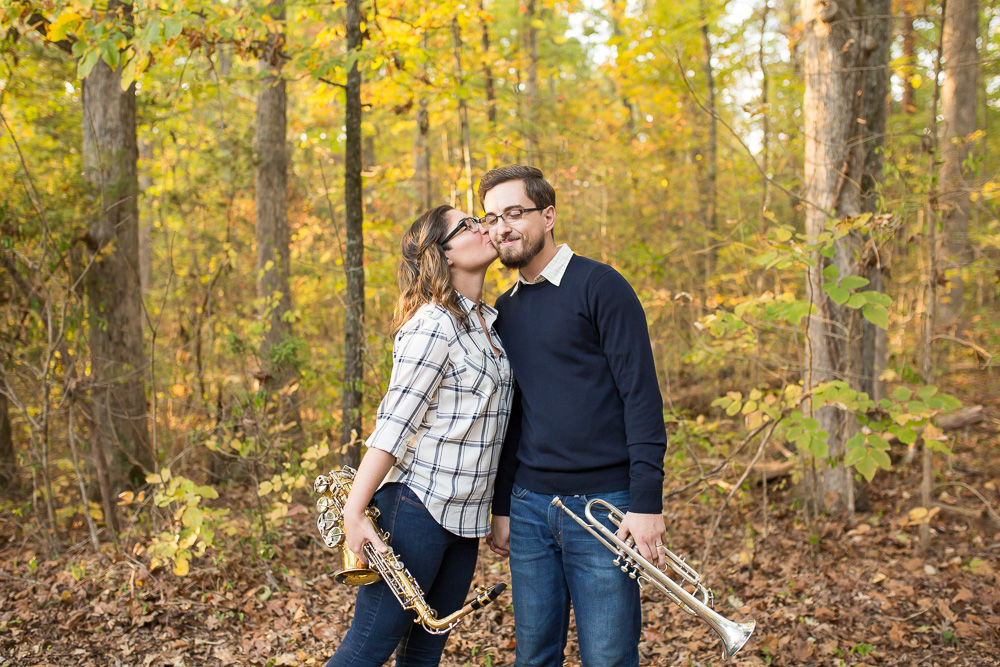 Marching bandmates in the woods during their musical engagement session | Warrenton Virginia Engagement