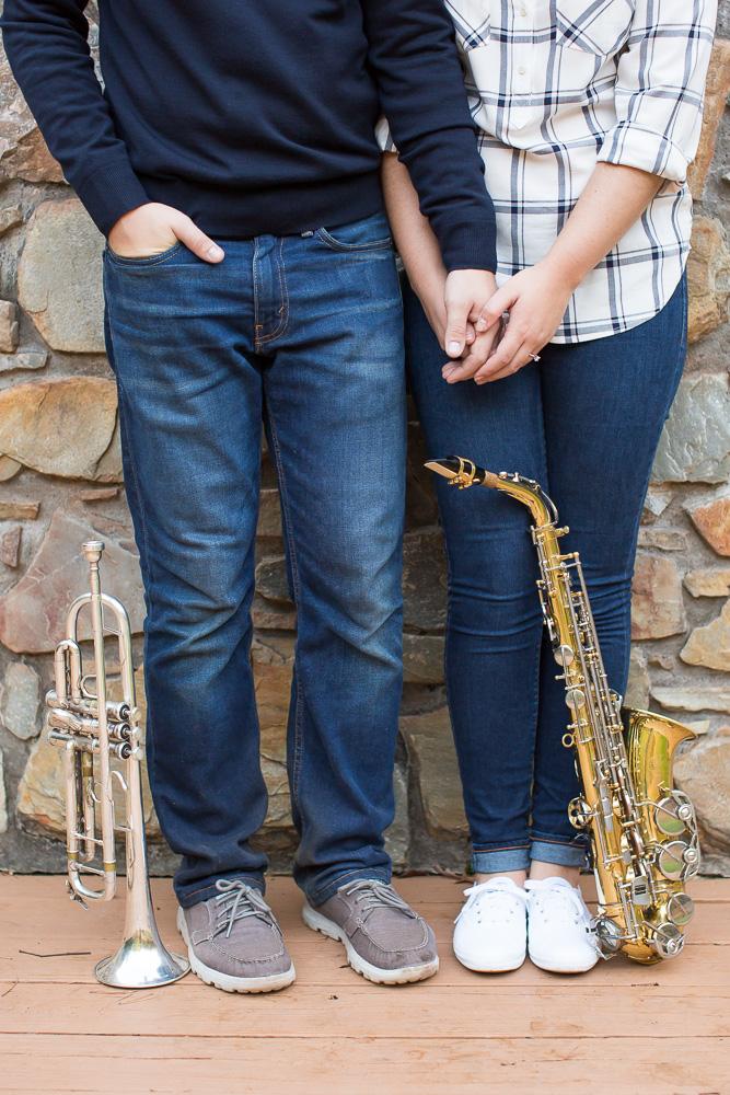 Musical instrument engagement photos   Trumpet and Saxophone   Northern Virginia Photographer