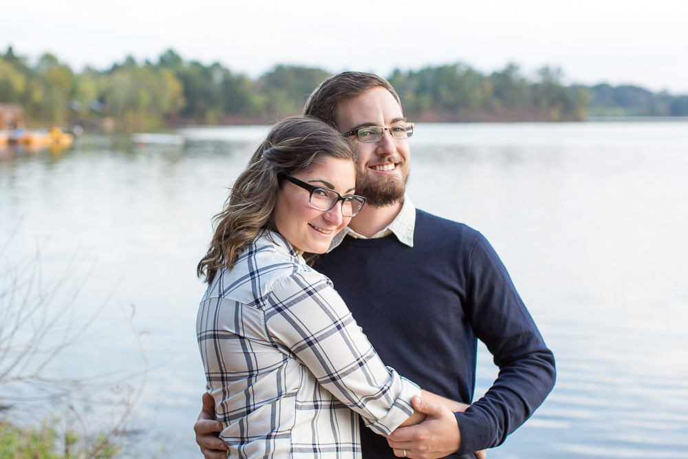 Engagement photos at Germantown Lake in Northern Virginia