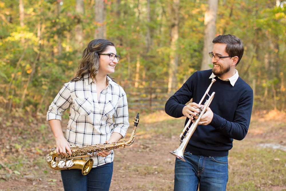 Marching band engagement photos | Saxophone and trumpet players | Virginia Wedding Photographer