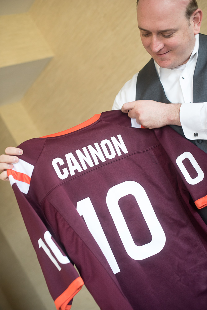 Groom's gift of a Virginia Tech jersey | Virginia Tech fan wedding in Northern Virginia