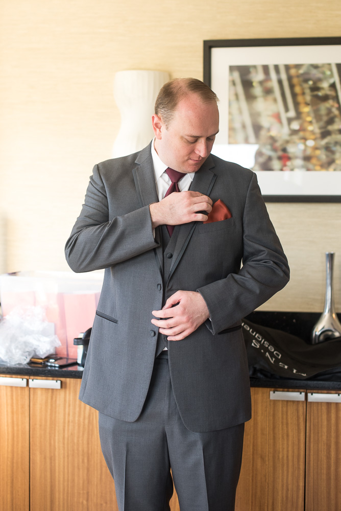 Groom getting ready for the wedding day in Herndon, Virginia