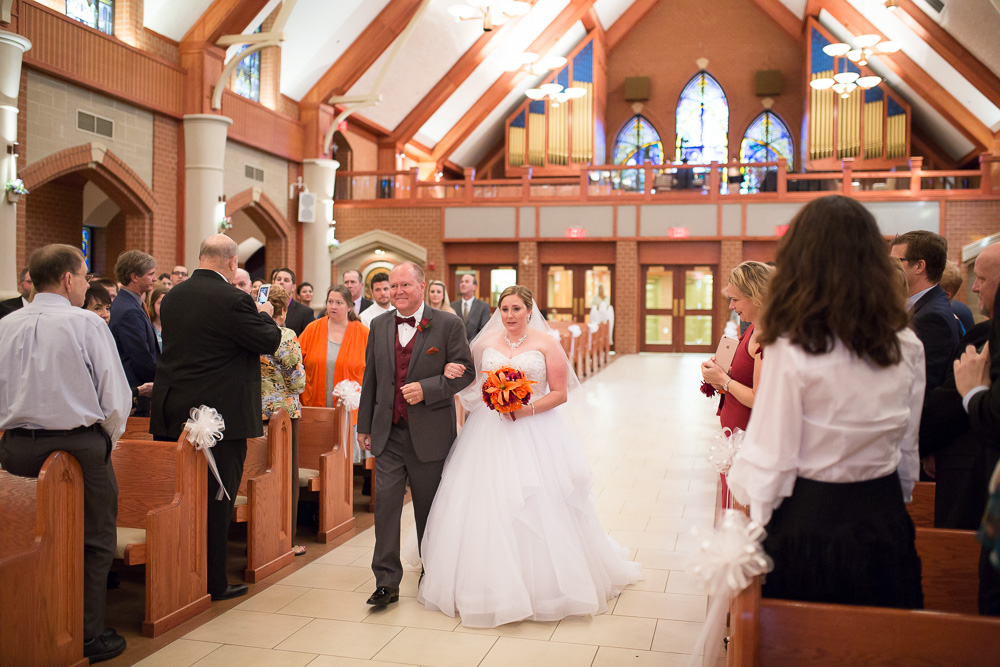 Wedding processional at Saint Theresa Catholic Church in Ashburn, Virginia | Northern Virginia Wedding Catholic Ceremony Venues