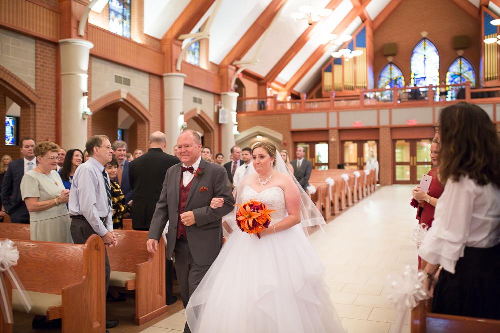 Wedding processional at Saint Theresa Catholic Church in Ashburn, Virginia | Northern Virginia Candid Wedding Photographer