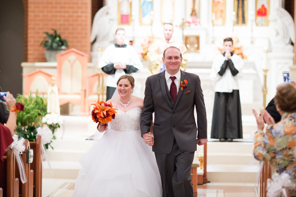 Wedding recessional at Saint Theresa Church | Ashburn Virginia Wedding Venues