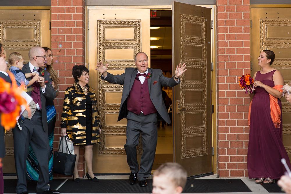 Bubble exit at wedding at Saint Theresa Catholic Church