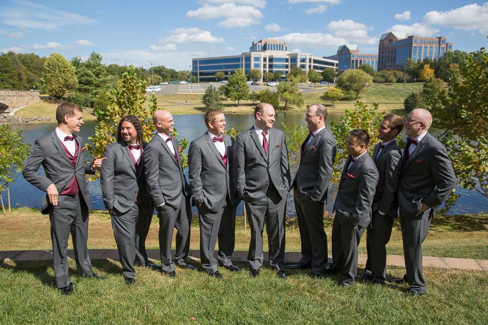 Candid photo of the groomsmen hanging out before the wedding ceremony | Outdoor Wedding Ceremony Venues in Northern Virginia