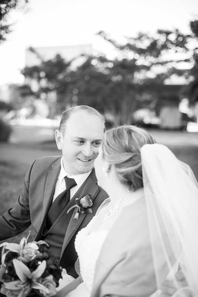 Sweet photo of the groom looking at his bride | Herndon, Virginia Wedding