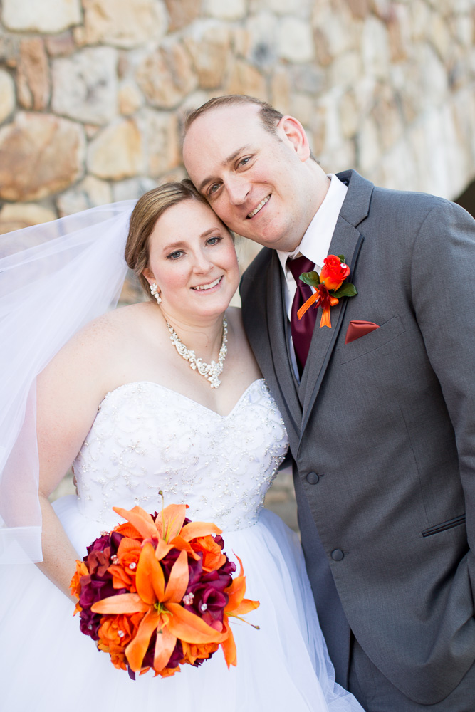 Happy wedding couple with Virginia Tech wedding colors | Burgundy and orange wedding | Northern Virginia Wedding Photographer