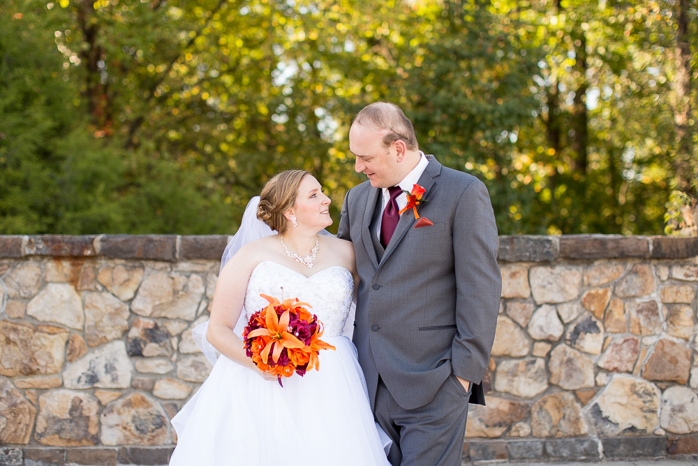 Bride and groom on the stone bridge at the Westin Washington Dulles | Wedding Venues in Northern Virginia