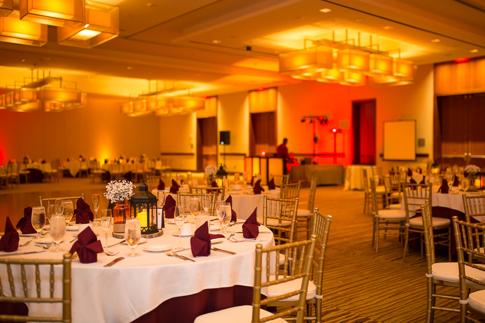 Wedding reception hall at Westin Washington Dulles Hotel | Burgundy and orange Virginia Tech Wedding