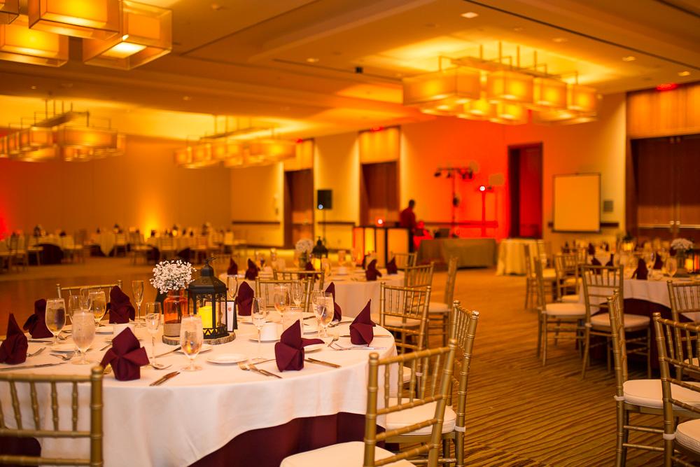 Wedding reception hall at Westin Washington Dulles Hotel | Burgundy and orange Virginia Tech Wedding