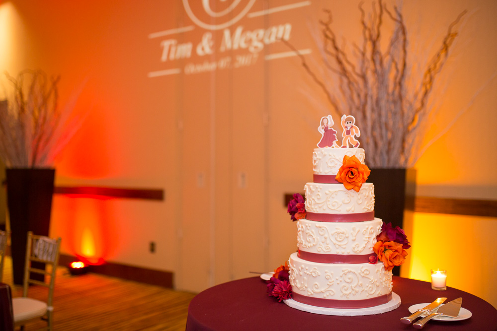Wedding cake by Crumbles Cake Co | Best Northern Virginia Wedding Cakes | Maroon and orange Virginia Tech colors