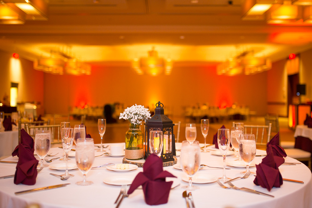 Maroon and orange Hokie wedding reception | Virginia Wedding Photographer | Megan Rei Photography