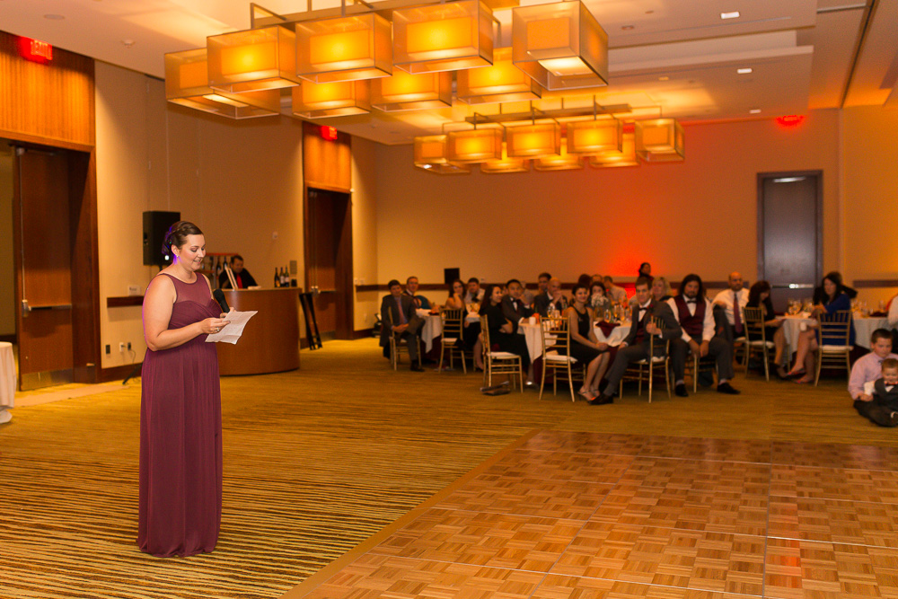 Maid of honor giving her toast at the Westin Washington Dulles Hotel
