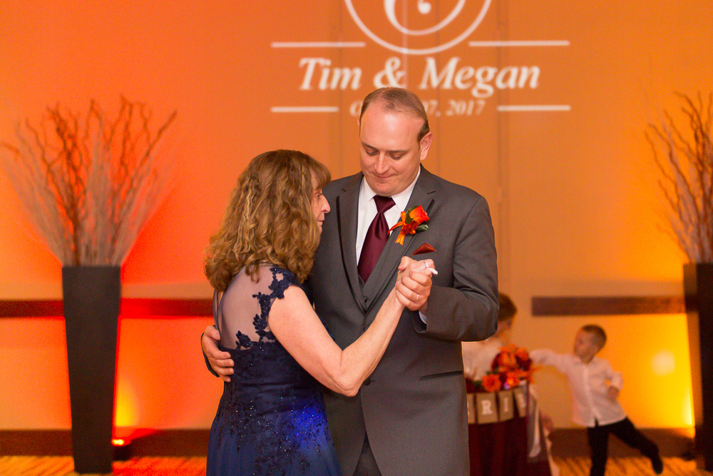 Mother-son dance at a Virginia Tech wedding