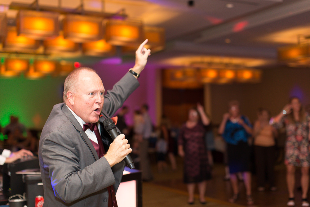"Father of the bride singing ""Love Shack"" during wedding reception at the Westin Washington Dulles Hotel 