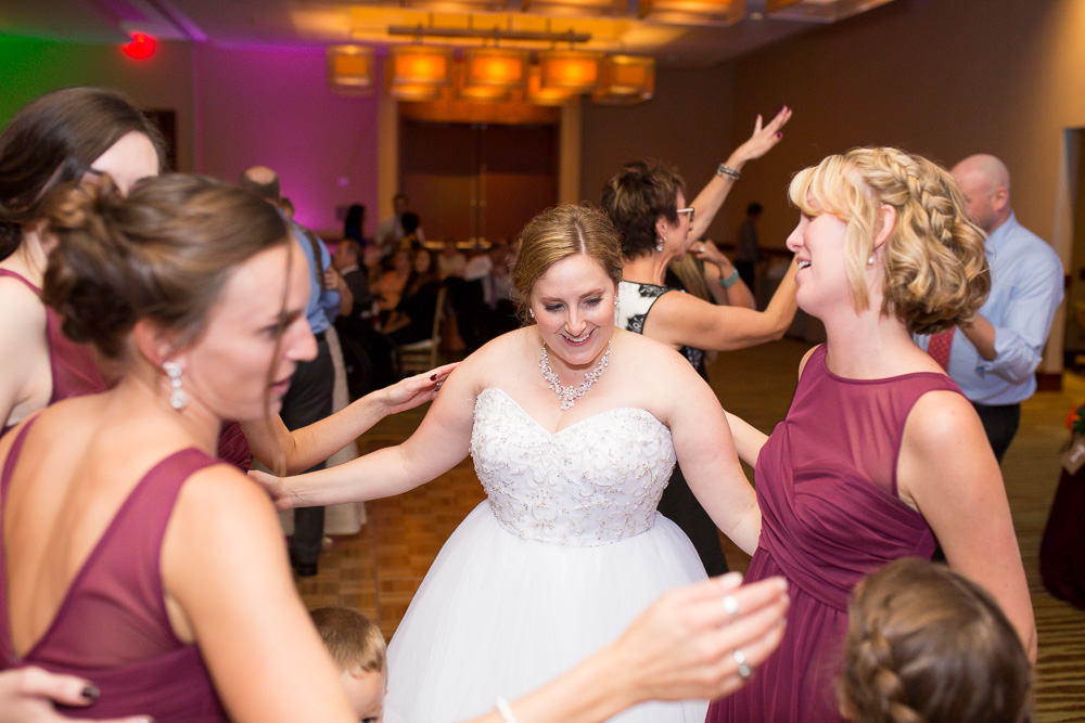 Bride dancing with her bridesmaids at the Westin in Herndon, Virginia | Northern Virginia Wedding Photographer
