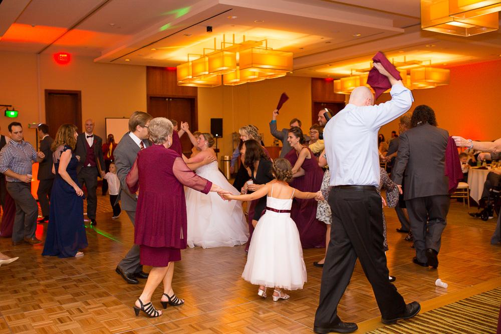 Wedding guests having fun during the bridal dance at the Westin Washington Dulles Hotel | Northern Virginia Wedding Reception Venues