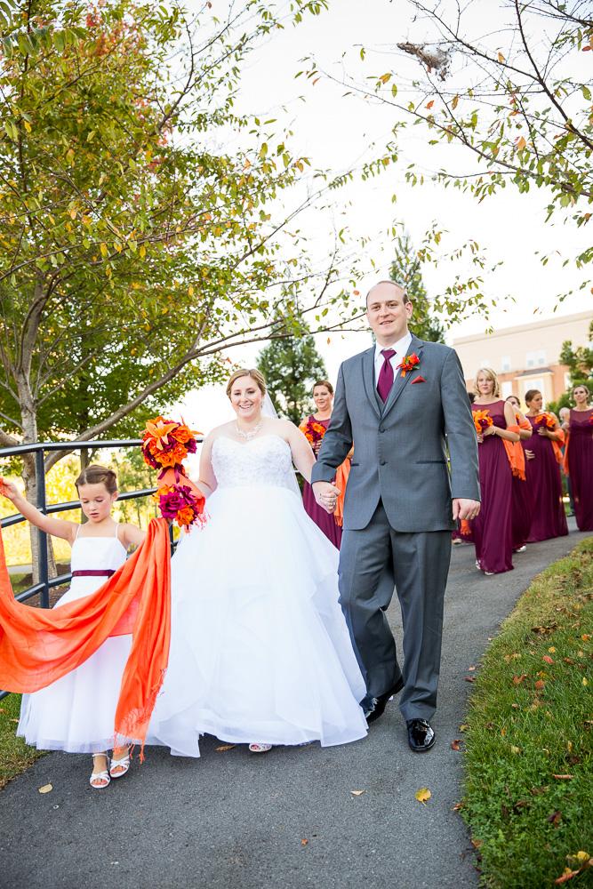 Wedding party walking down the path at the Westin | Herndon Virginia Wedding