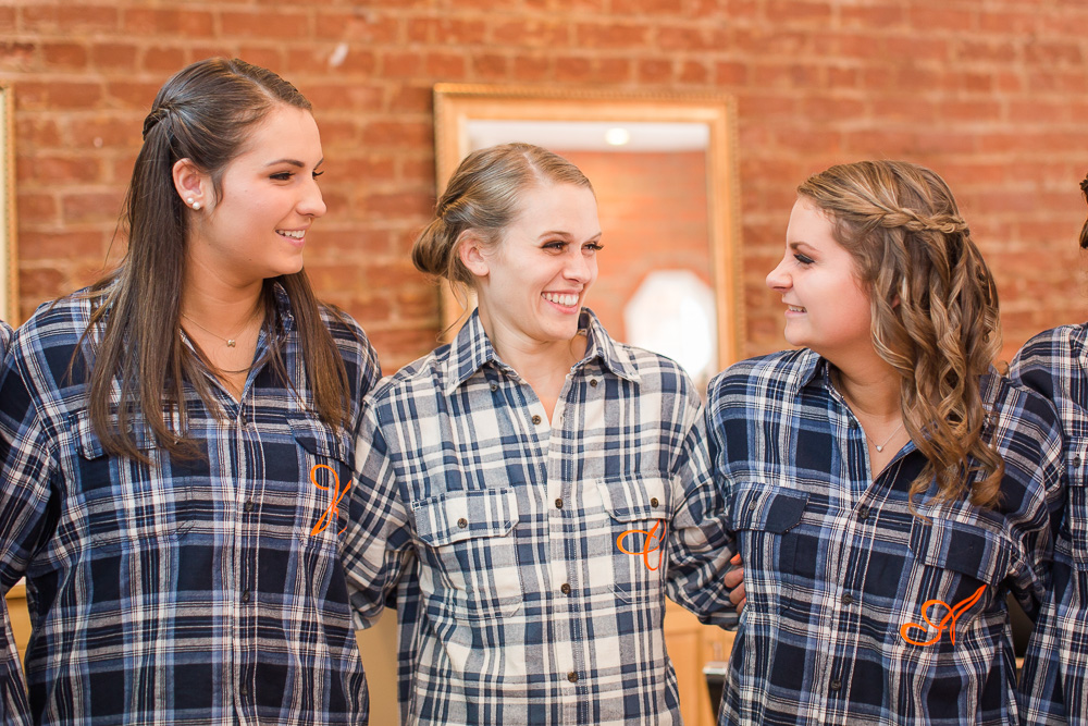 Bride with her bridesmaids at Salon on Main in Remington, Virginia | Candid Wedding Photographer in Fauquier County