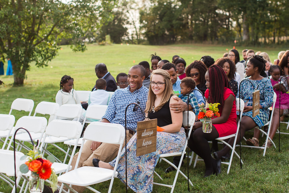 Candid photo of wedding guests waiting for the ceremony to start at Mountain Run