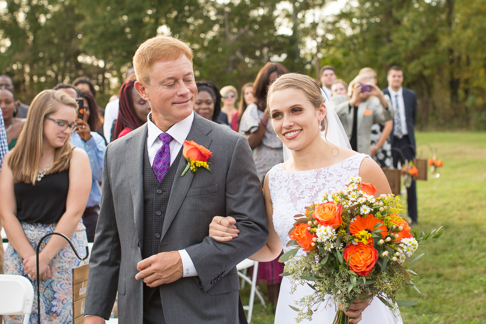 Bride's processional at Mountain Run Winery | Northern Virginia Wedding Photographer