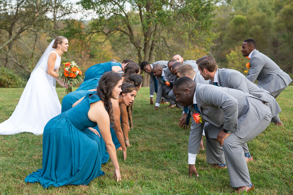 Football pose for wedding party photo | Fun Wedding Photographer in Culpeper, Virginia