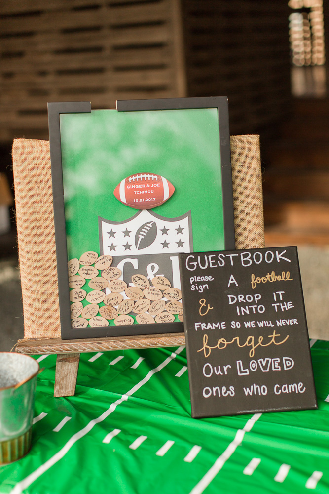 Football-themed wedding guestbook | Football wedding decor