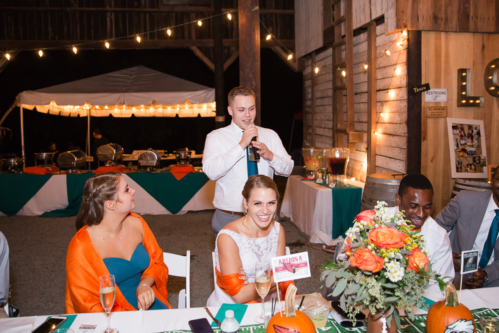 Bride's brother giving a speech | Barn wedding in Culpeper, VA