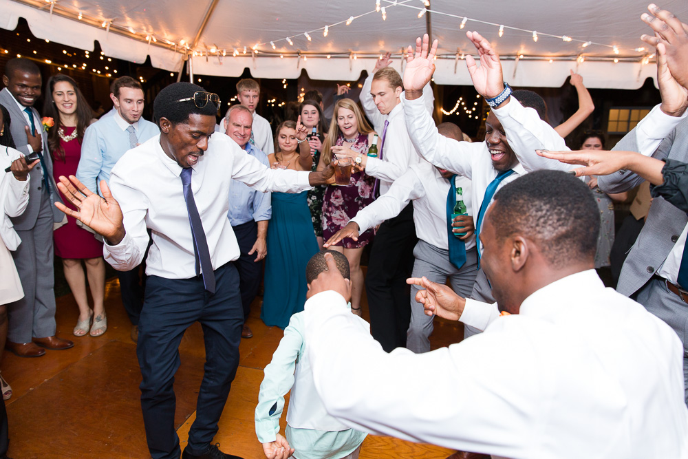 A crowded dance floor at a fall wedding in Culpeper, Virginia